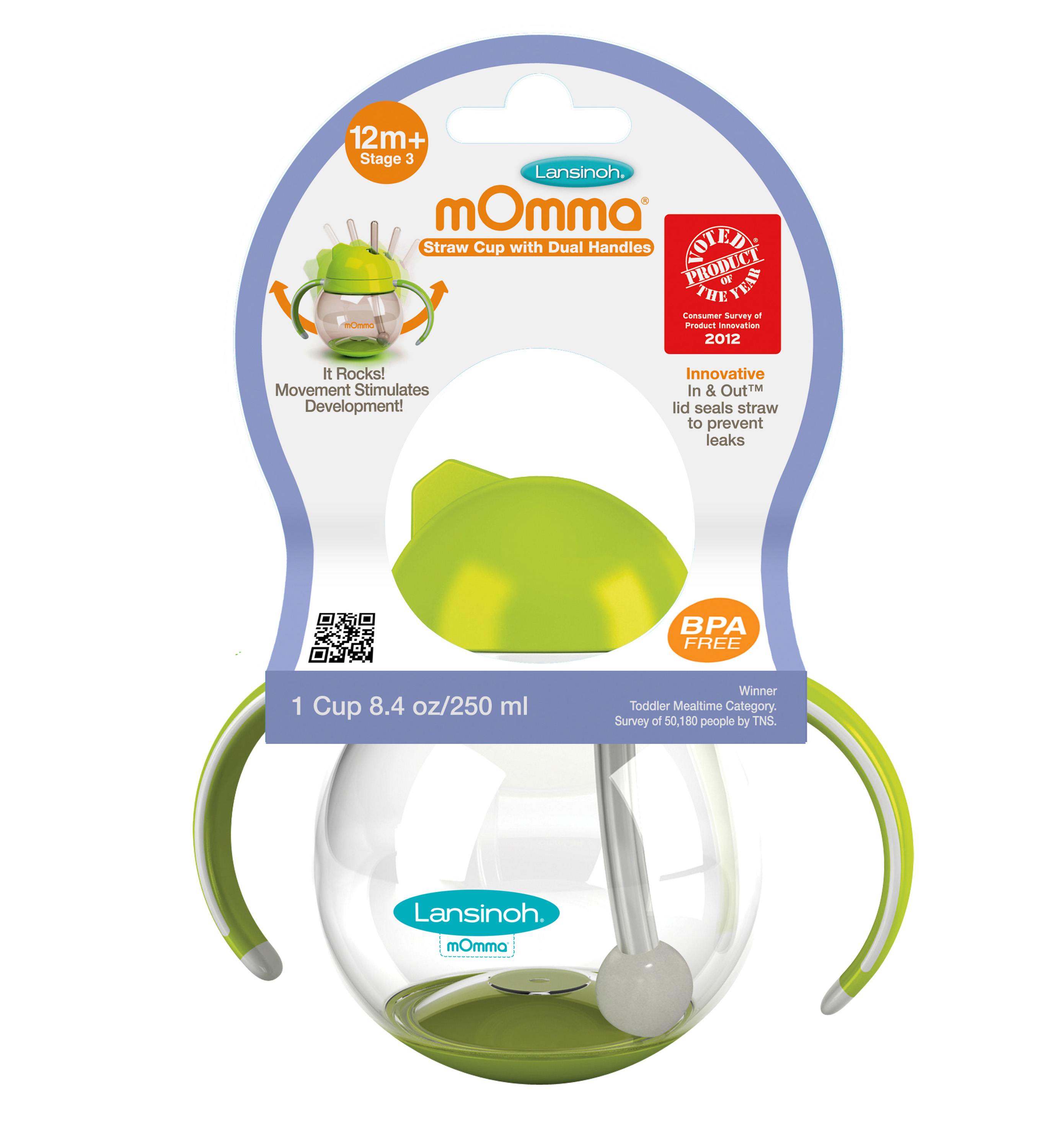 Lansinoh mOmma Straw Cut with Dual Handles, Green