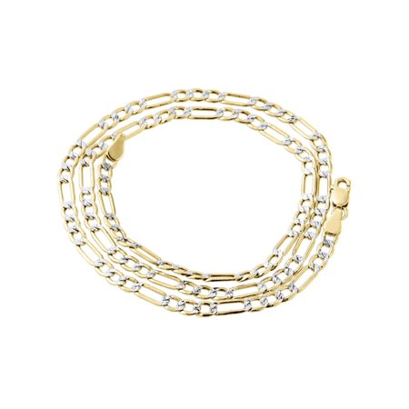 10K Yellow Gold 3.5mm Diamond Cut Figaro Chain Necklace Lobster Clasp, 16 Inches