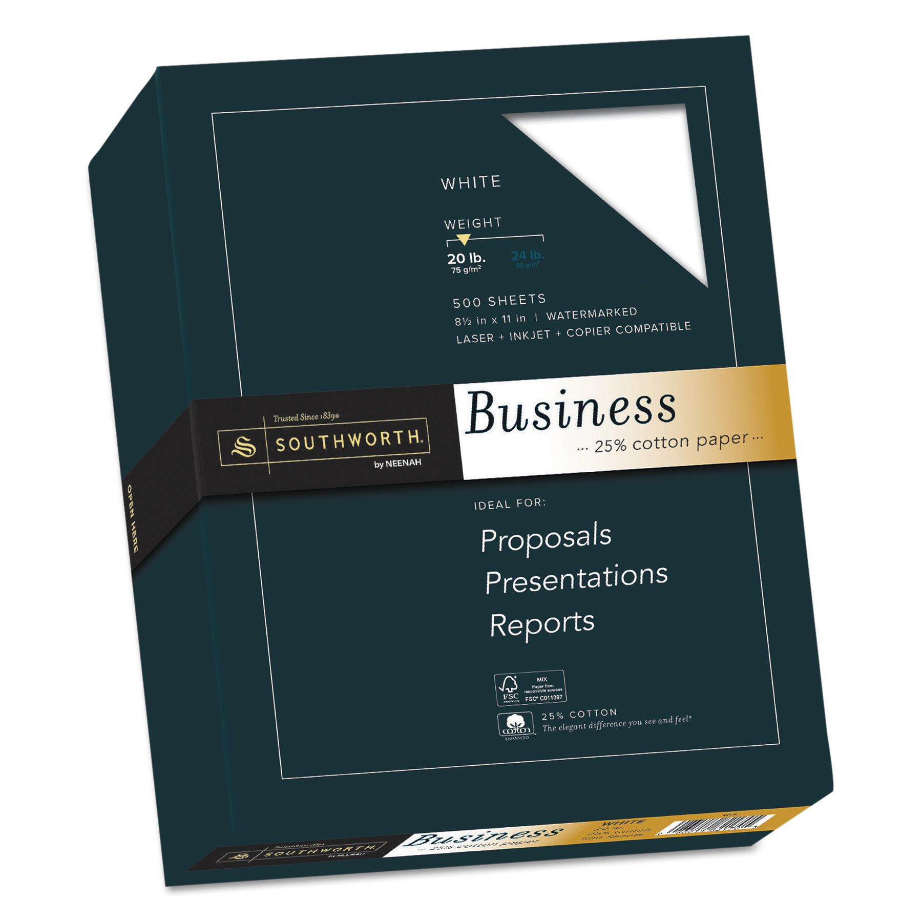 Southworth 25% Cotton Business Paper, 20lb, 95 Bright, 8 1/2 x 11, 500 Sheets -SOU403C