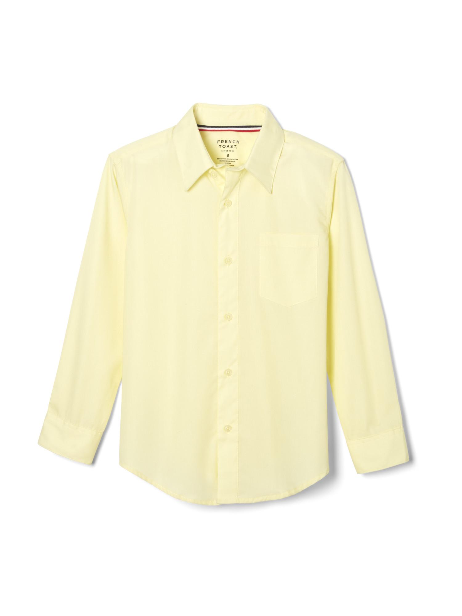 French Toast School Uniform Boys Long Sleeve Classic Dress Shirt Yellow Husky