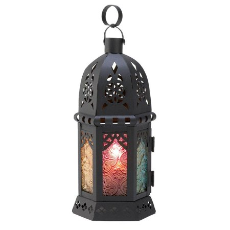 Ornate Metalwork Enchanted Rainbow Candle Lantern Stand, Dramatic moroccan style glass and metal candle lantern. By Gifts Decor