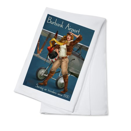 Burbank Airport, California - Aviator Pinup Girl - Lantern Press Artwork (100% Cotton Kitchen Towel)](Walmart Burbank California)