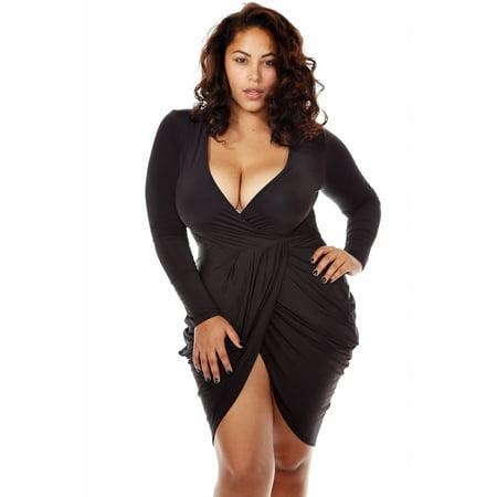 WOMENS PLUS SEXY CLUBWEAR CUT OUT HOT SHORT SLEEVE FASHION DRESS GMD7181-XL-Black - Plus Size Women Clubwear