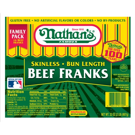 Nathan S Skinless Hot Dogs Nutrition