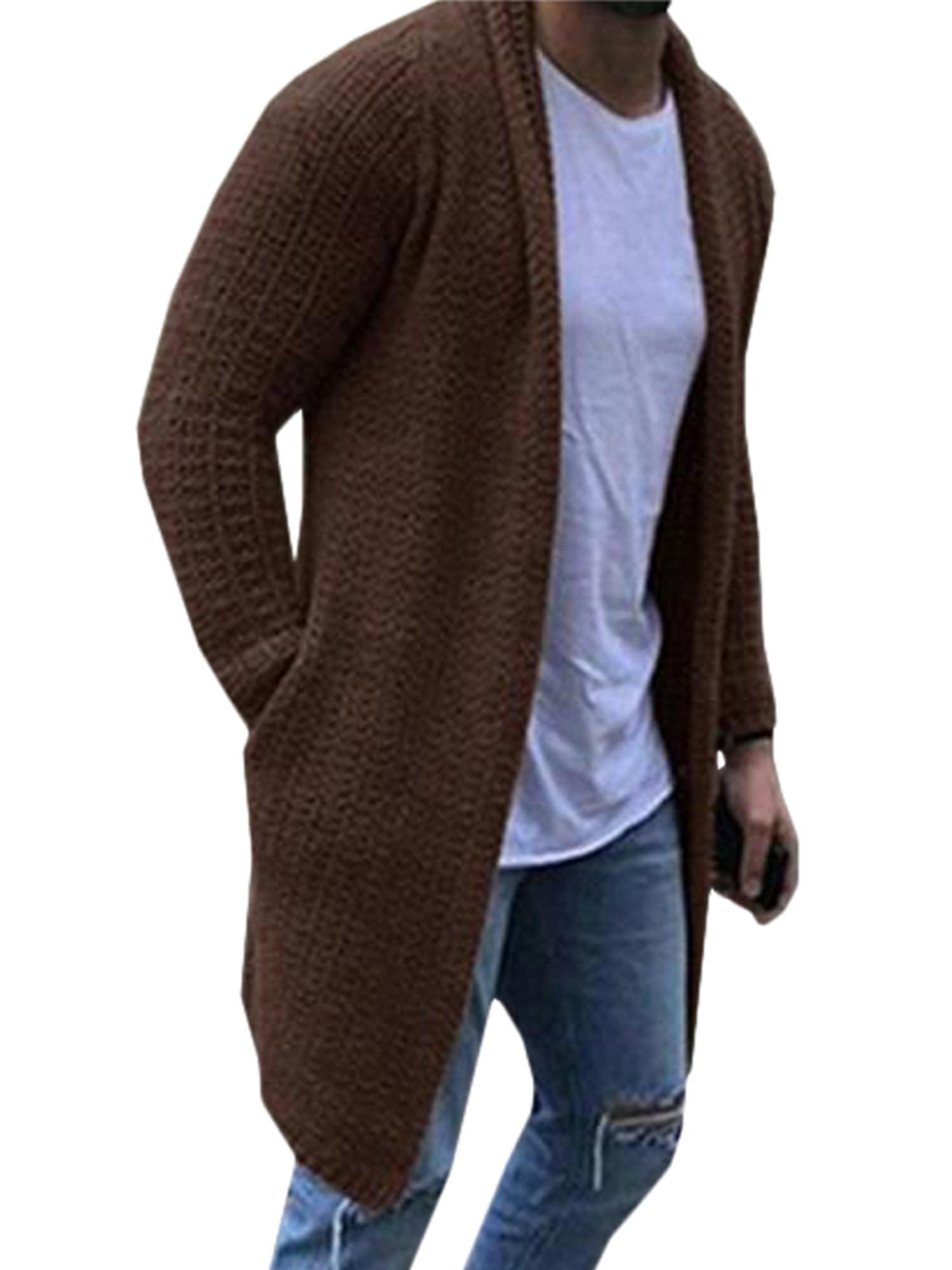 Mens Casual Winter Warm Sweater Knitted Cardigan Coat Knitwear Outwear Overcoat