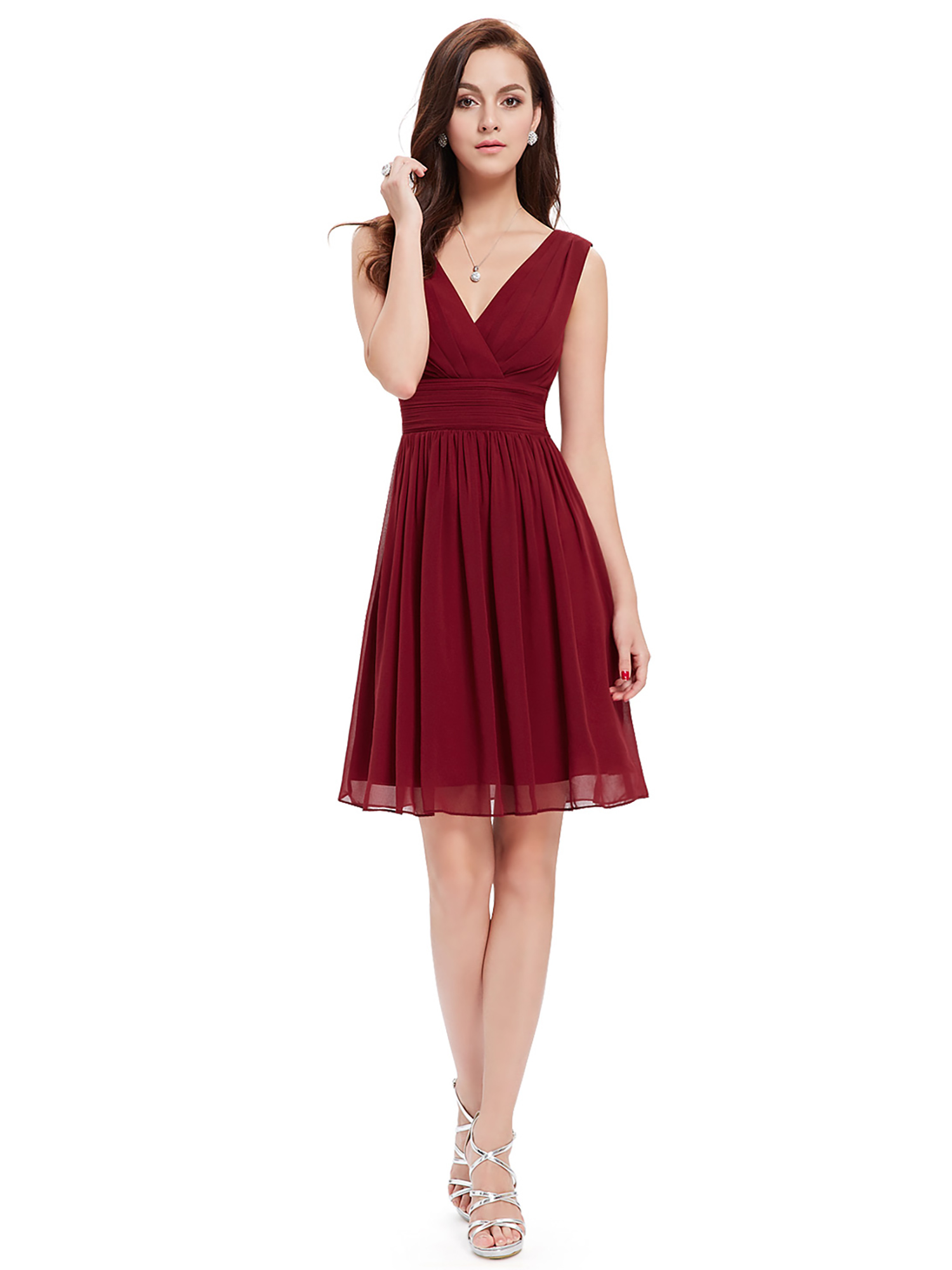 Ever-Pretty Women's Chiffon V-Neck Short Bridesmaid Wedding Party Formal Evening Dresses for Women 03989 Burgundy US 4 by Ever Pretty Garment Inc.