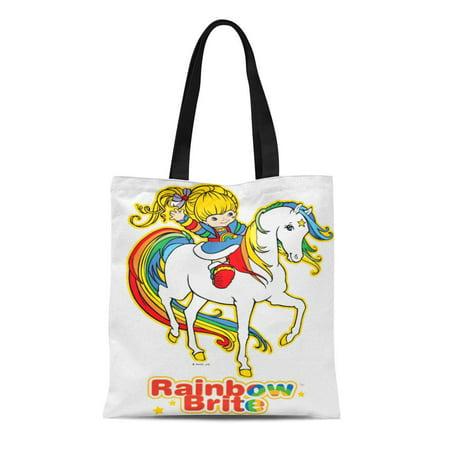 Rainbow Horses Tote (LADDKE Canvas Tote Bag Colorful Horse Classic Rainbow Brite Starlight 80S Cartoon Eightees Reusable Handbag Shoulder Grocery Shopping Bags)