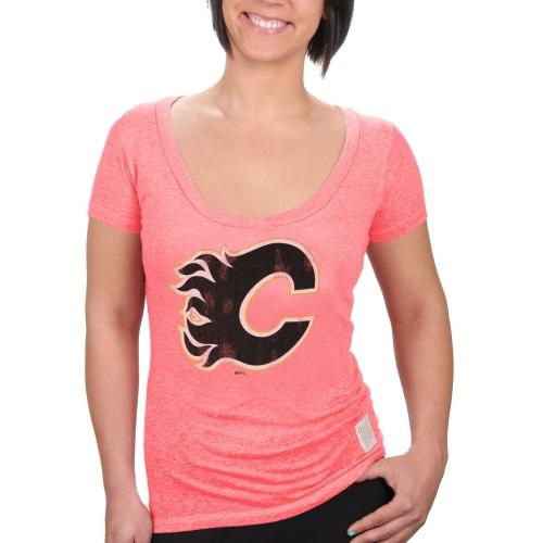 Calgary Flames Original Retro Brand Women's Streaky Deep V-Neck T-Shirt - Red