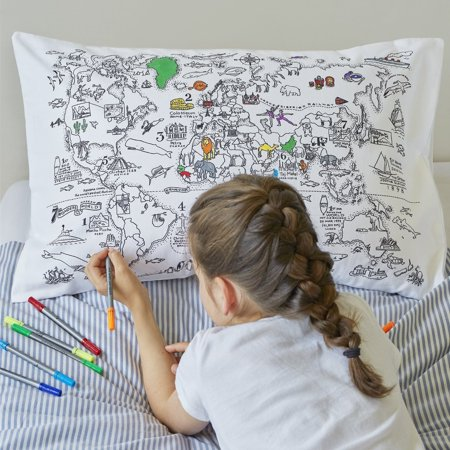 Doodle World Map Pillowcase, Color Your Own Pillow Case, Coloring ...