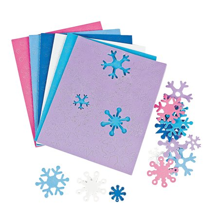 Fun Express - Adhesive Foam Snowflake ShapeS- 500pc for Winter - Craft Supplies - Foam Shapes - Regular - Winter - 500 Pieces](Foam Snowflakes)