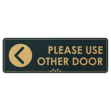 Please Use Other Door Left Arrow - Laser Engraved Sign - 3