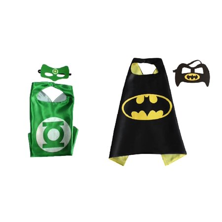 Green Lantern & Batman Costumes - 2 Capes, 2 Masks with Gift Box by Superheroes - Halloween Nz