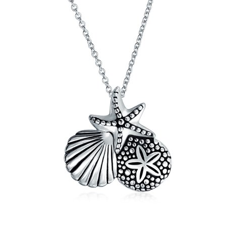 Nautical Beach Sand Dollar Starfish Clam Shell Charm Pendant Necklace For Women Oxidized 925 Sterling Silver 18 In (Shell Nautical Pendant)
