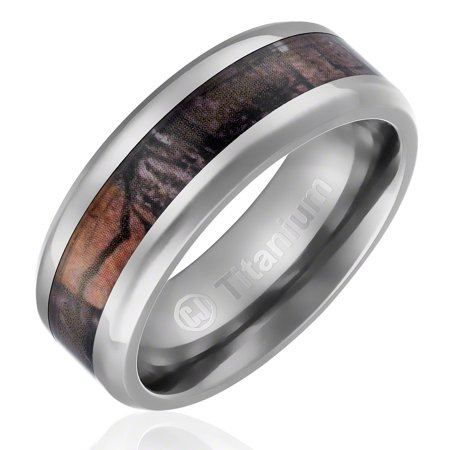 Mens Wedding Band in Titanium 8MM Camo Ring with Camouflage Inlay