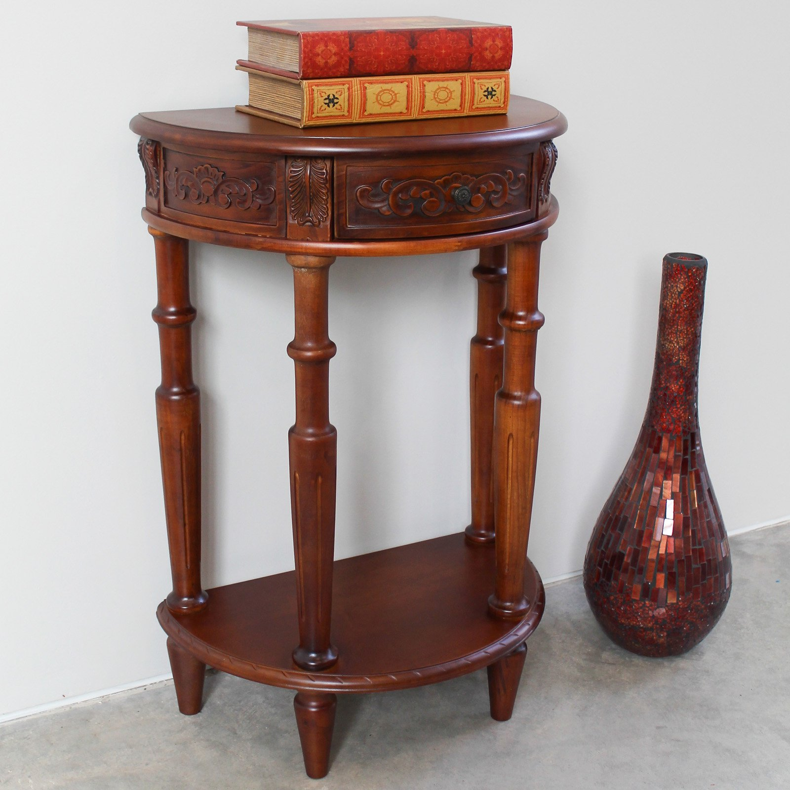 International Caravan Windsor Hand Carved Wood Walnut Stain Console Table
