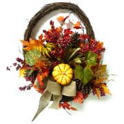 Yellow Mixed Pumpkins Half Wall Basket Fall Harvest Halloween Decoration