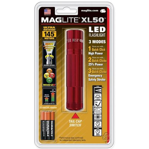 Maglite Maglite Xl50 Led 3-Cell Red - XL50-S3036