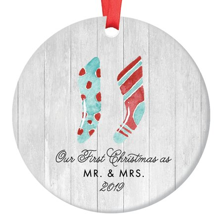 Mr & Mrs Christmas Ornament 2019, Farmhouse Woodsy Our 1st Christmas as a Married Couple Wife Present for Newlyweds Ceramic Porcelain Keepsake 3