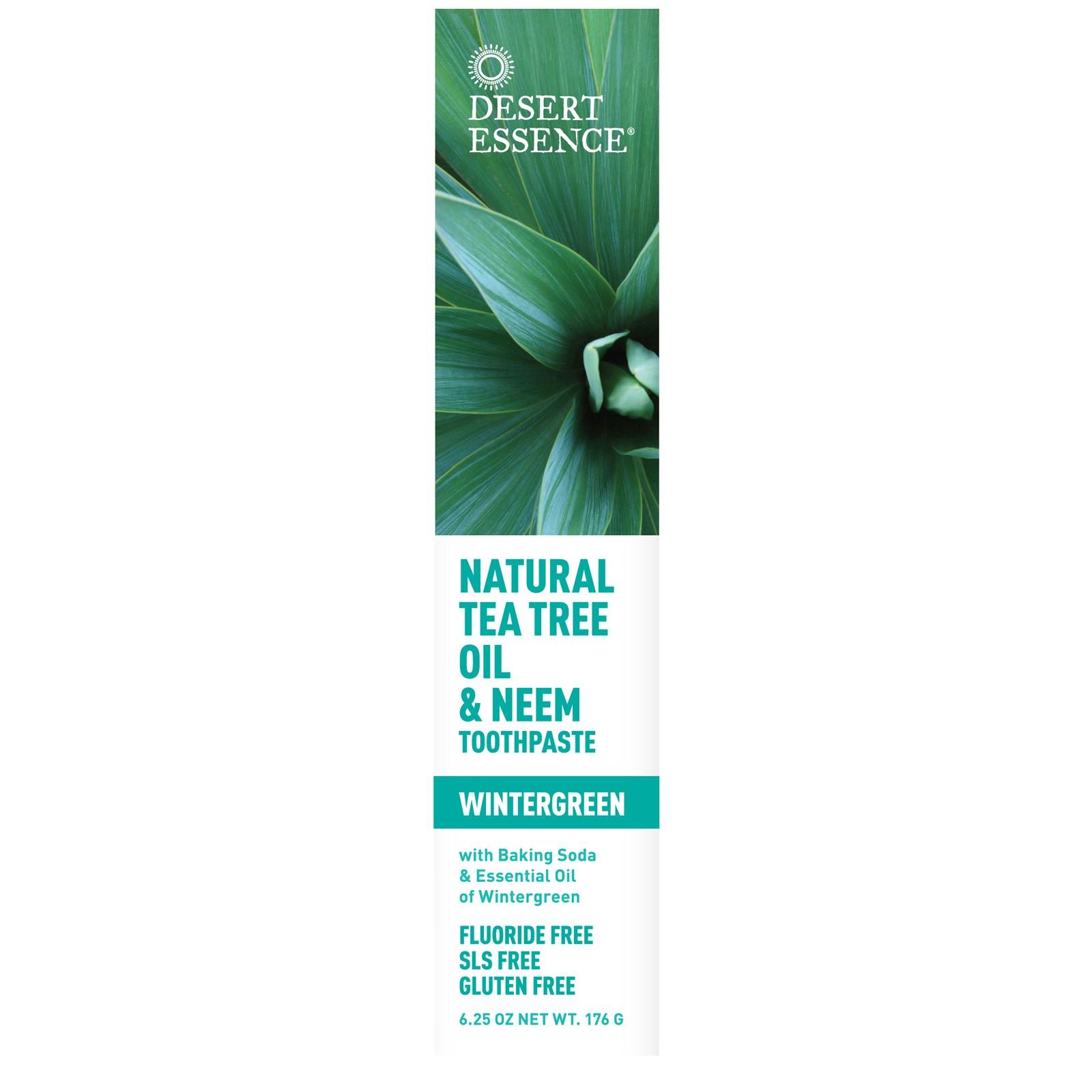 Desert Essence Tea Tree Oil & Neem Toothpaste Wintergreen...