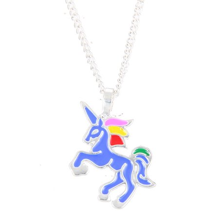 StylesILove Handmade Design Enamel Cute Unicorn Charm Clavicle Pendant Gold Silver Chain Necklace (Blue with Silver Chain) (Gold Enameled Flag Pendant)