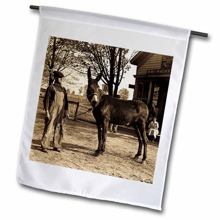 3dRose 1900 Man and a Mule in Milwaukee Sepia - Garden Flag, 12 by (Milwaukee Flag)