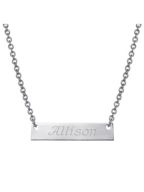 Personalized Girls' Gold -Tone Engraved Nameplate Bar Necklace
