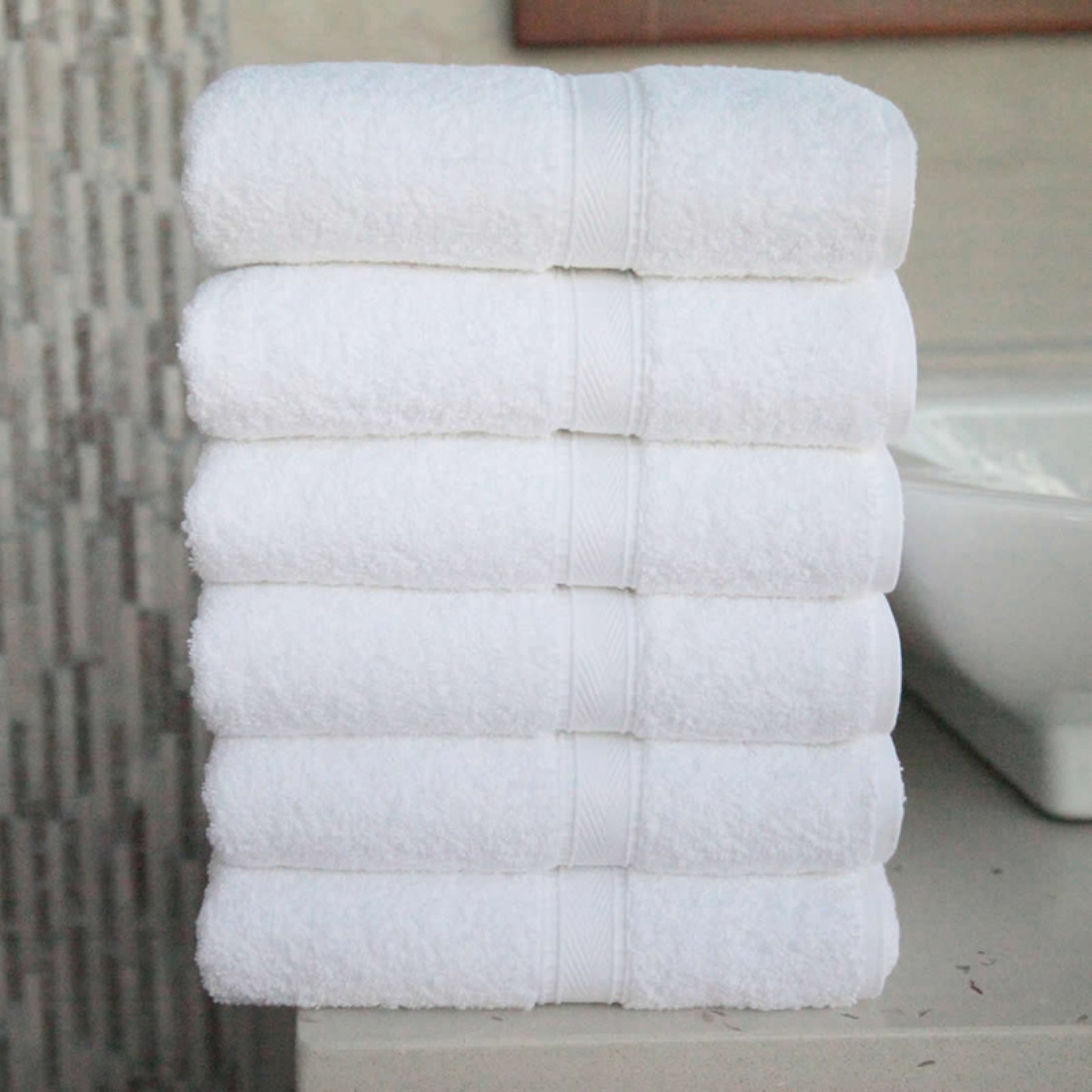 Luxury Hotel & Spa 100% Turkish Cotton Hand Towels - Set of 6