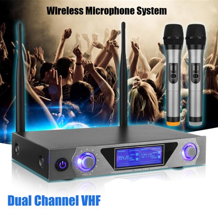 Pro Metal 2 Channel Stereo VHF Wireless Home Karaoke KTV Dual Handheld Microphone System with LCD Display Cordless Mic set Easy-to-use for Family Party,Church wedding