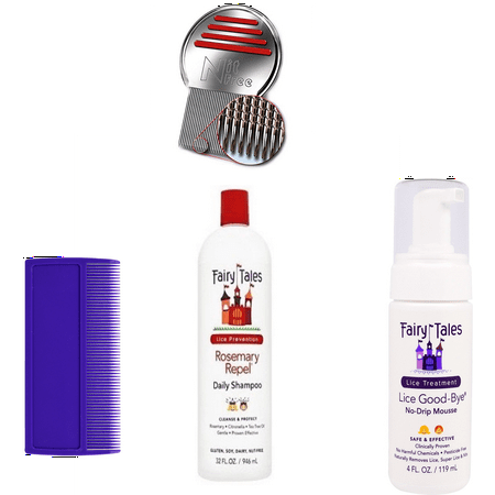 Fairy Tales Nits and Lice Prevention and Treatment Kit with Terminator Comb and Lice Treatment Mousse and Preventative Shampoo