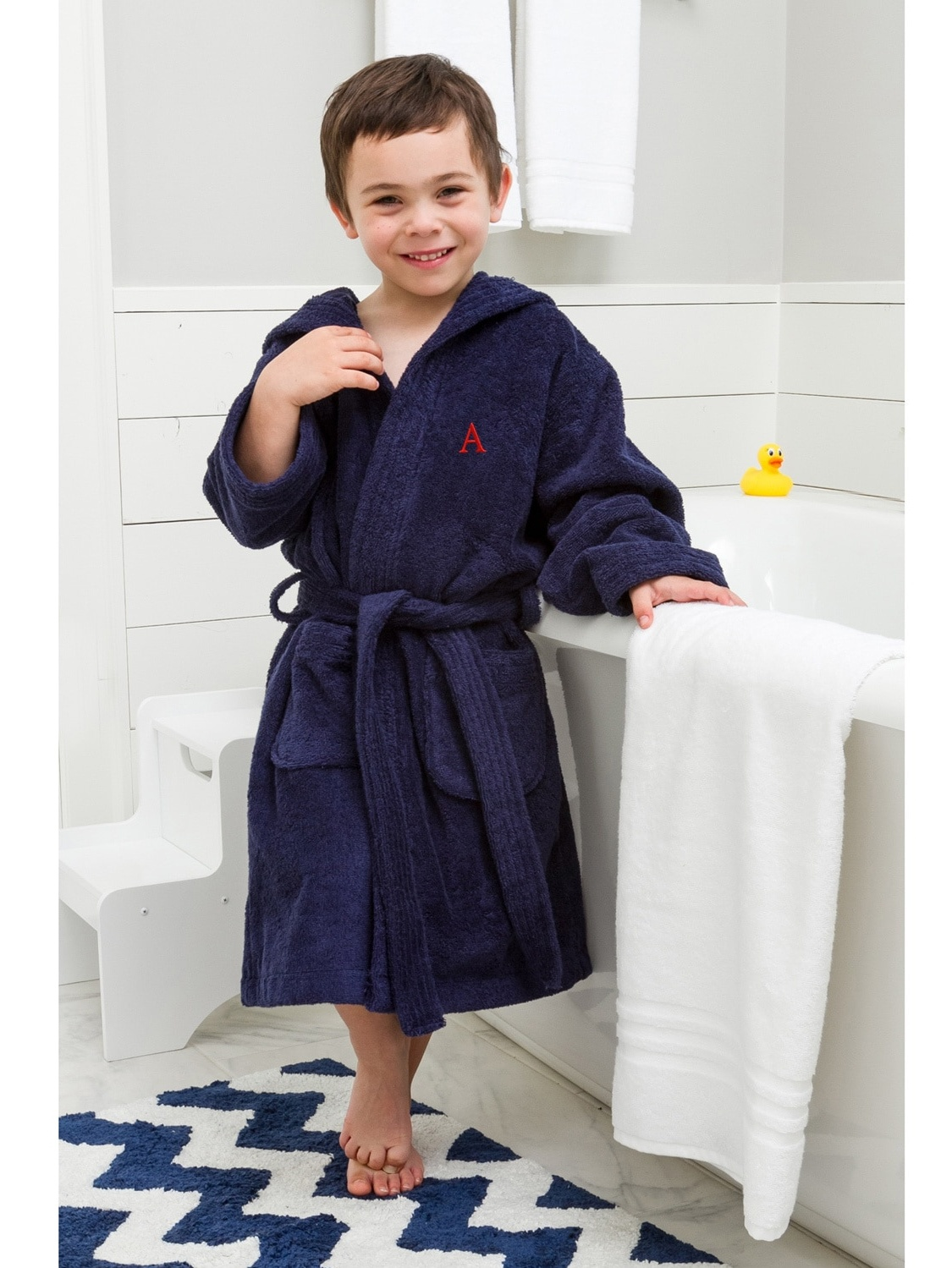 Linum Home Sweet Kids Turkish Cotton Terry Midnight Blue with Red Monogram Hooded Bathrobe