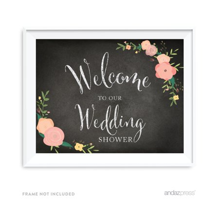 Welcome To Our Wedding Shower Chalkboard Fl Roses Party Signs