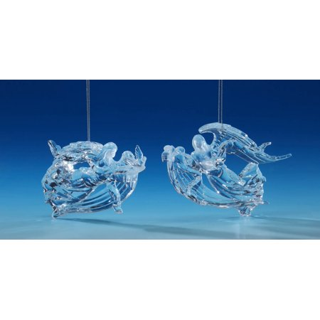Set of 4 Clear Winged Angel Christmas Ornaments