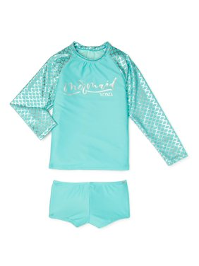 XOXO Girls Mermaid Long Sleeve Rashguard Swim Shirt and Boyshorts, 2-Piece Swimsuit Set, Sizes 7-16