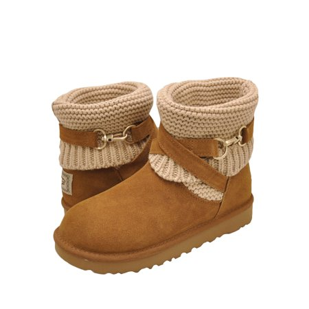 UGG PURL Women's Suede & Knit Strap Boots 1098080 ()