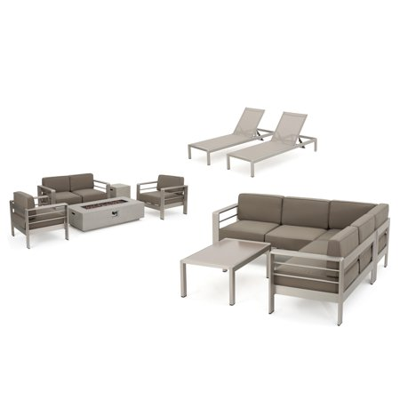 Image of Coral Bay Outdoor Sofa and Chat Set with Lounges and Light Grey Firepit, Khaki