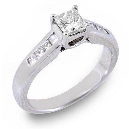 14k White Gold 1 Carat Princess Cut Diamond Engagement Ring