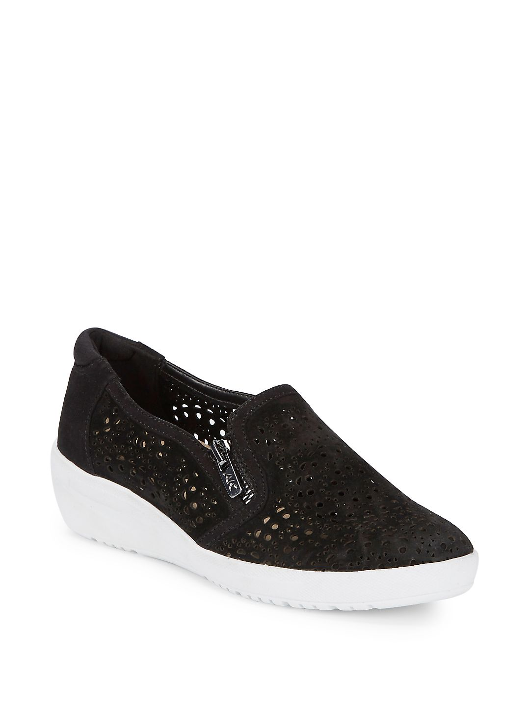 Yvette Laser-Cut Suede Demi-Wedge Sneakers