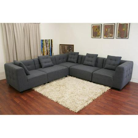 Baxton Studio Alcoa Gray Twill Sectional Sofa Walmart Com