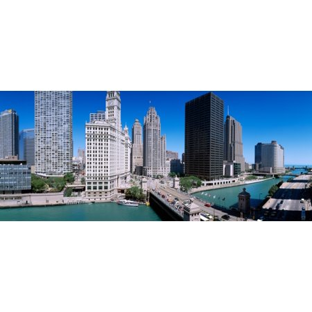 Skyscrapers In A City Michigan Avenue Bridge Chicago River Chicago Cook County Illinois Usa Canvas Art   Panoramic Images  27 X 9