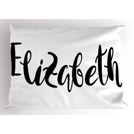 Lr Sham - Elizabeth Pillow Sham Monochrome Inscription Style Modern Calligraphy Design Popular Girl Name, Decorative Standard Size Printed Pillowcase, 26 X 20 Inches, Black and White, by Ambesonne