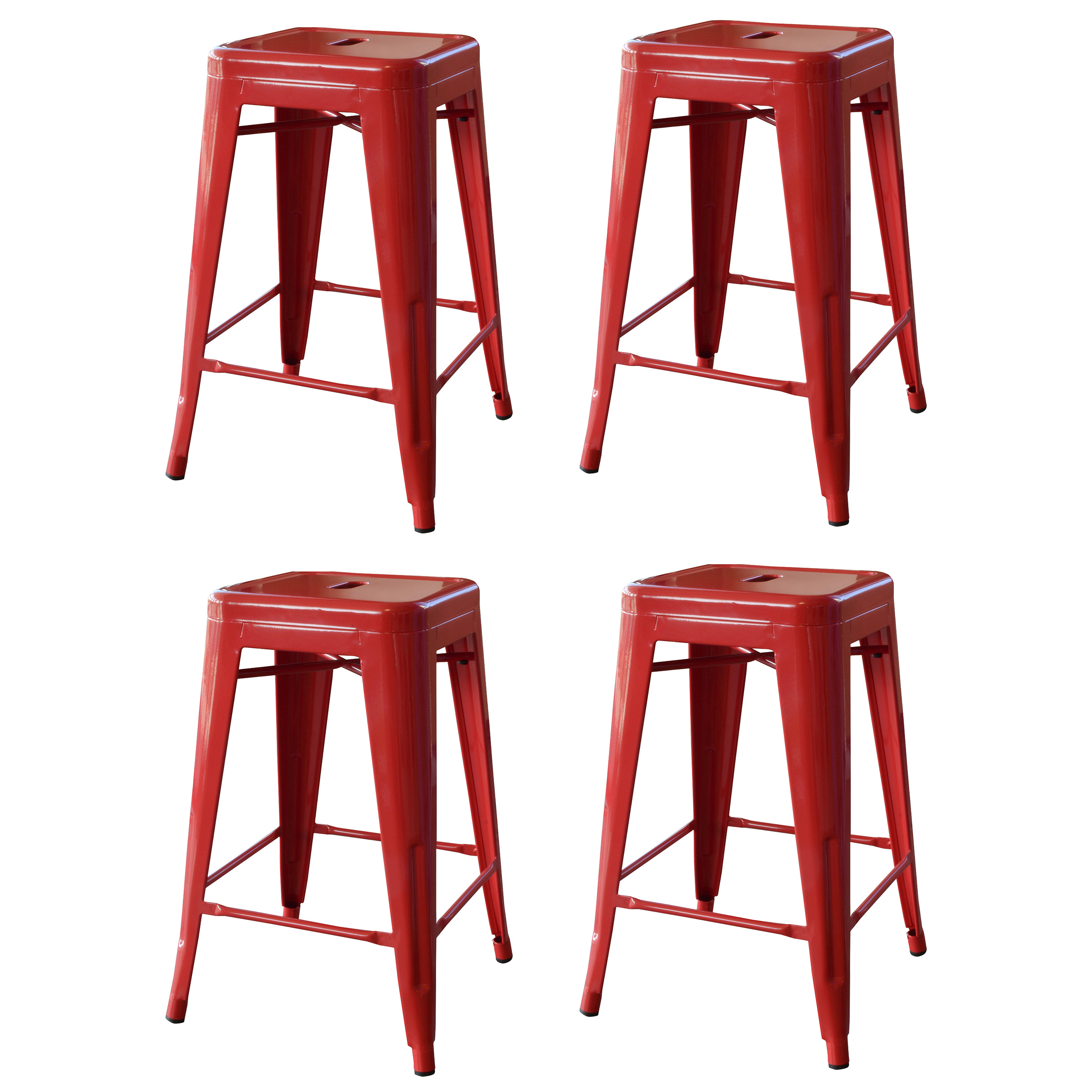 Amerihome Loft 24 Metal Bar Stool Red Set Of 4 Walmartcom