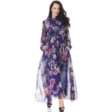 f87706e3c9ab Unomatch - Women Plus Size Collar Neck Floral Printed Decorated Maxi ...