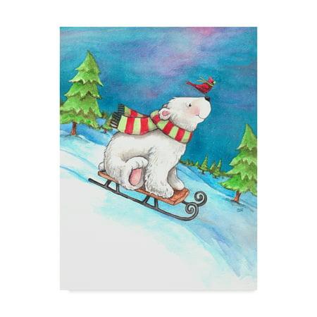 (Trademark Fine Art 'Polar Bear And Sled' Canvas Art by Melinda Hipsher)