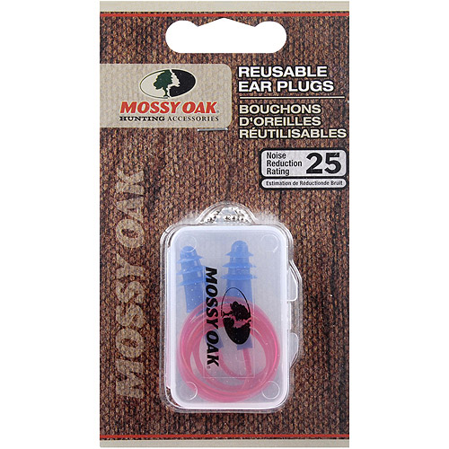 Mossy Oak Reusable Ear Plugs, Blue/Red