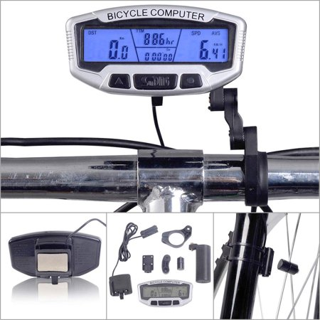 Mountain bike speedometer Bicycle Computer with Backlight LCD Display Battery (Best Bike Computer For Mountain Biking)