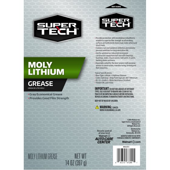 Super Tech Moly-Lithium Extreme Pressure Grease, 14 oz Tube