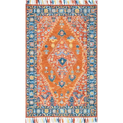 World Menagerie Charlotte Hand-Tufted Rust Area Rug