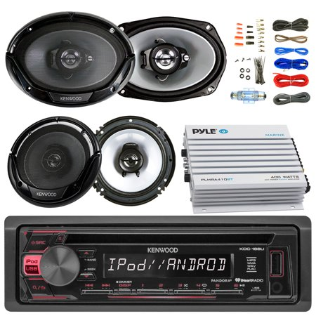 Kenwood KDC168U Car CD Player Receiver USB AUX Radio - Bundle Combo With 2x Kenwood 6.5