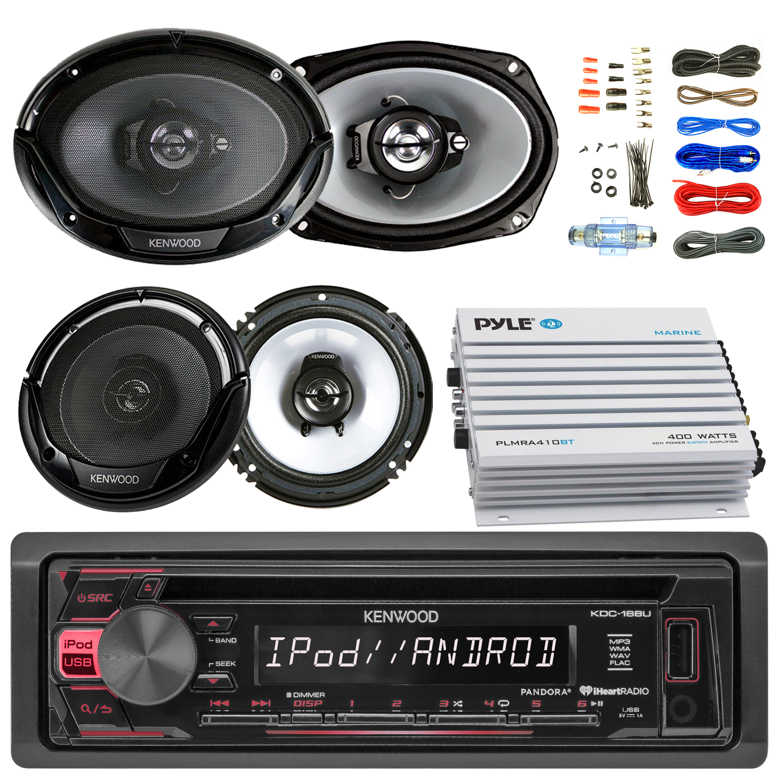 "Kenwood KDC168U Car CD Player Receiver USB AUX Radio - Bundle Combo With 2x Kenwood 6.5"" 2-Way Black Car Coaxial Speakers + 2x 6x9"" Inch 3-Way Speaker + 4-Channel Bluetooth Amplifier + Amp Kit"
