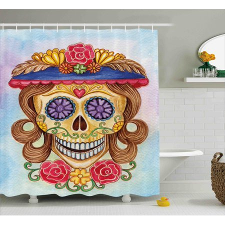Day Of The Dead Shower Curtain Cute Lady Mommy Skull Head With Flower Hat Spanish And Mexican Art Print Fabric Bathroom Set Hooks Multicolor